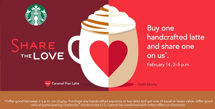 Pinned February 11th: Second latte free 2-5pm Friday at #Starbucks #coupon via The Coupons App