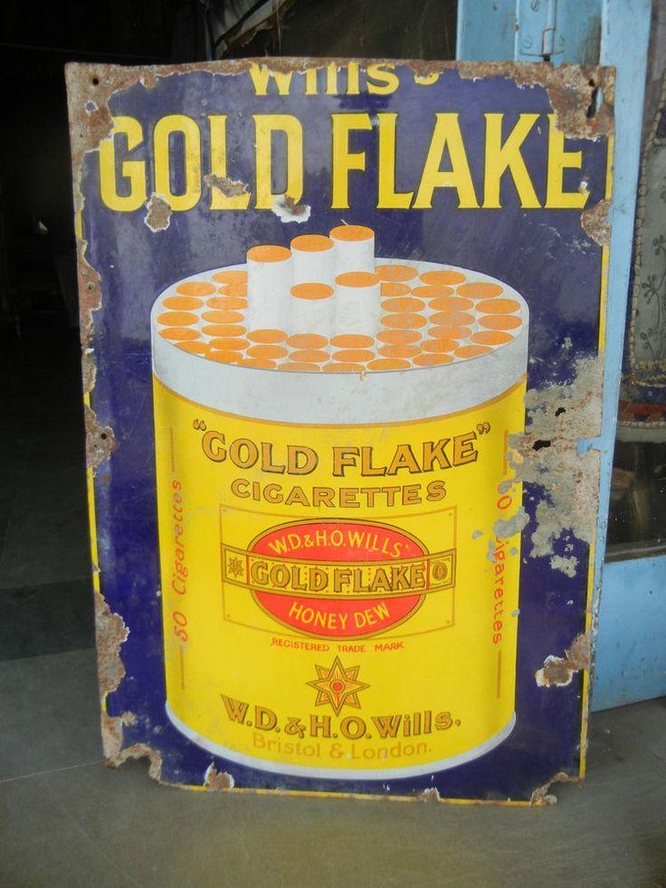 Rare Vintage Gold Flake Cigarette Porcelain Enamel Sign ADV EHS