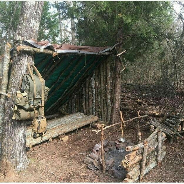 Lean To Bushcraft Shelter With Fireplace Heat Retaining Wall