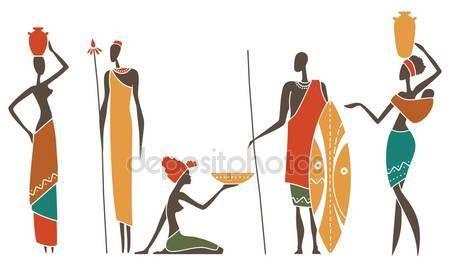 Descargar - Siluetas de mujeres y hombres africanos nativos — Ilustración de Stock #105903464