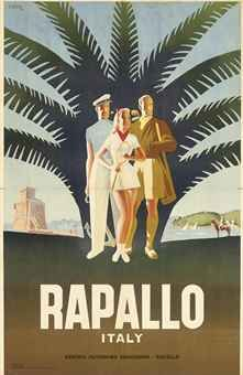 Italian travel Poster by Mario Puppo, 1 9 4 7, Rapallo.