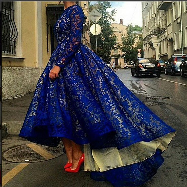 Wholesale New Formal Evening Celebrity Dresses Lace Hi Lo Long Sleeve Royal Blue Bridal Party Prom Pageant Gowns Arabic 2015 Custom Made, Free shipping, $121.45/Piece | DHgate Mobile