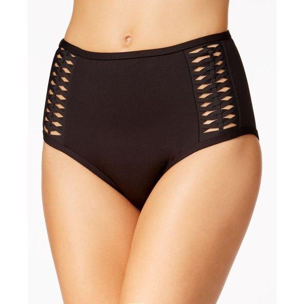 Kenneth Cole Weave Your Way Macrame High-Waist Bikini Bottoms ($61) ❤ liked on Polyvore featuring swimwear, bikinis, bikini bottoms, black, crochet bikini bottom, high-waisted bikinis, macrame bikini, high rise bikini bottom and cut out bikini