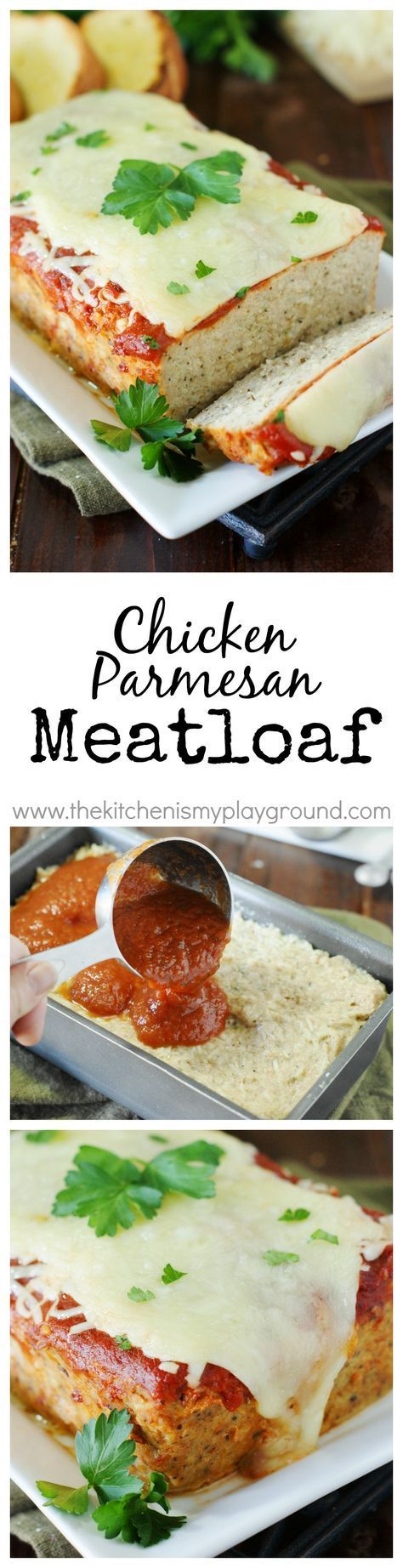 Chicken Parmesan Meatloaf ~ loaded with the flavors of Italian herbs and garlic, topped with sauce and yummy melty cheese. A dinner favorite! www.thekitchenismyplayground.com