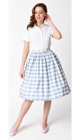 Unique Vintage 1950s Light Blue & White Gingham High Waist Swing Skirt