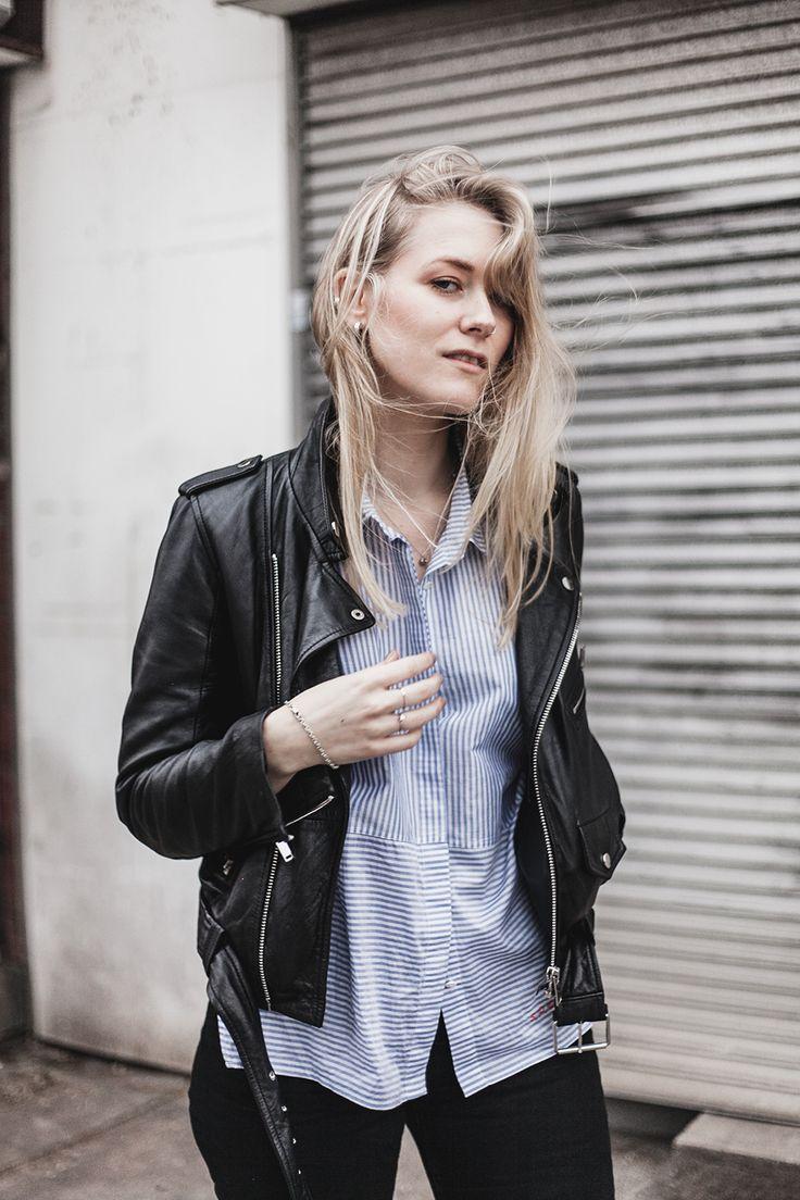 shirt – 5Preview jeans – Monki leather jacket – Zara Ja, här står jag och posar helt ohämmat i blåsten. Har blivit oförklarligt bekväm med att posa inför kameran, heja mig. Det är ett sånt oväder här i London, stormen Doris sliter i varenda englasfönster och oisolerade takbjälkar runt om i Storbrittanien. Idag var vi tvungna att avbryta ett möte för att be de utanför att sänka volymen, så kommer vi ut och det visar sig vara regnet som förde allt oväsen.