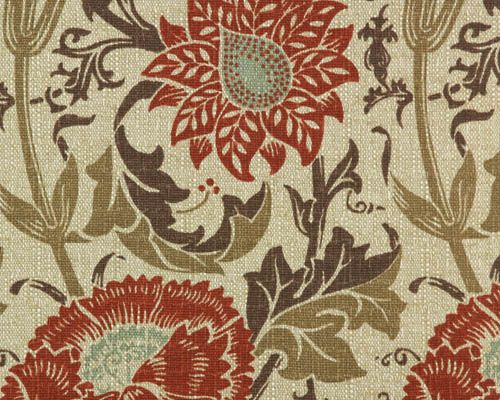 """William Morris """"Pink & Rose"""" pattern fabric available from Premier Prints Fabric - 'Mingei' in Nile/Denton, $15.99/yard (other colorways, printed on smooth, off-white fabric are even less expensive)."""