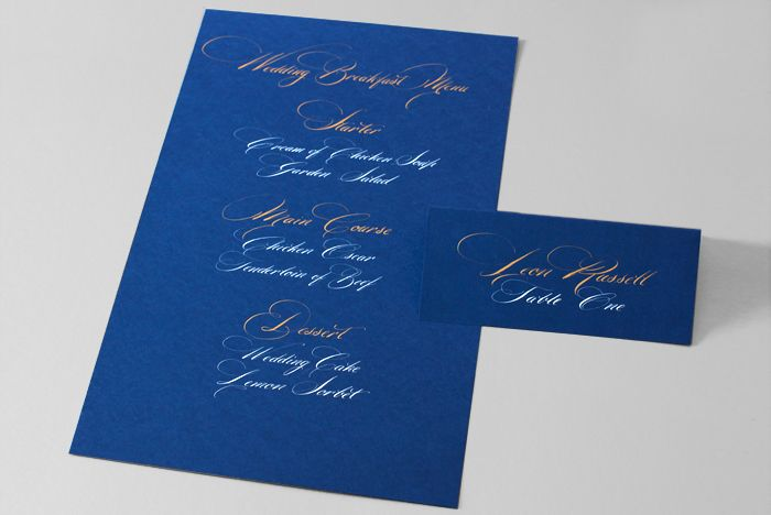 Calligraphy Menu and Place Card, white and gold ink
