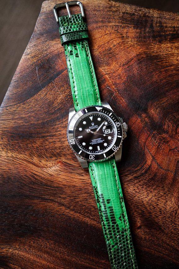 9a86765e5 22mm Watch Strap Lizard Leather Watch Strap 22mm   Green Lizard ...