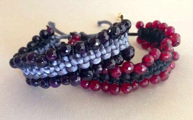 Makrame bracelets with gemstones