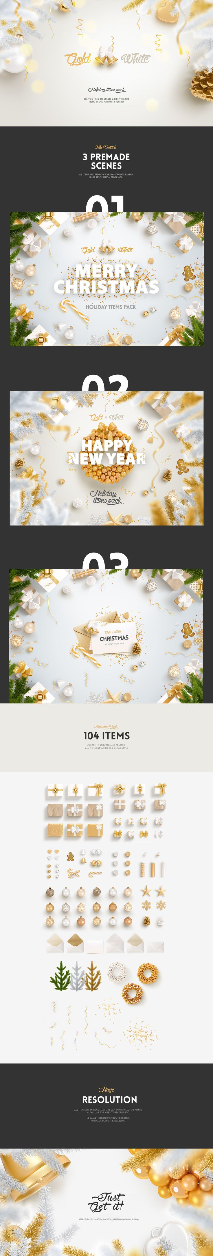 Holiday items pack with over a hundred items in a huge resolution. All you need to decorate your website for christmas and new year holidays. Create your shiny hero scene or party flyer with ease. http://graphicriver.net/item/gold-white-christmas-new-yea…