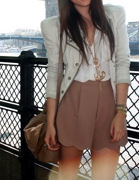<3: Anchors Necklaces, Scallops Shorts, Cute Outfits, Jackets, Summer Outfits, Fall Fashion, Neutral Tones, Spring Outfits, High Waist Shorts