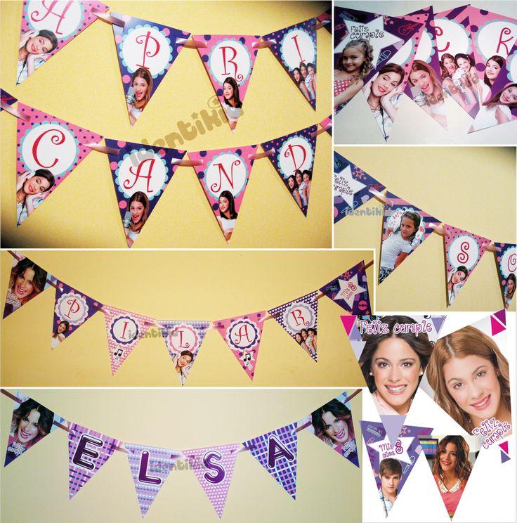 IDENTIKID - Banderín Violetta personalizado . Varios formatos - listos para colgar.- www.facebook.com/identikid