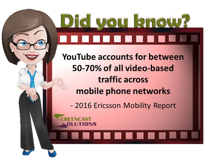 YouTube accounts for between 50-70% of all video-based traffic across mobile phone networks  - 2016 Ericsson Mobility Report