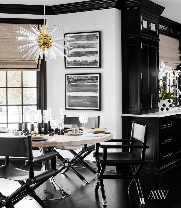 White Eat In Kitchen: Black And White Eat In Kitchen. Saarinen Shaped Table