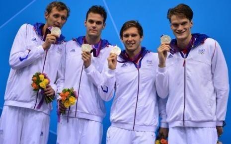SILVER! Amaury Leveaux, Grégory Mallet, Clément Lefert et Yannick Agnel : 4x200m Swimming