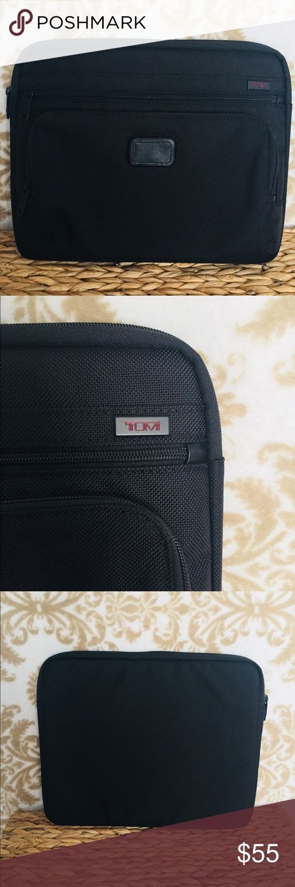 """TUMI Laptop Cover - UNISEX TUMI Laptop Cover - Fits most 13"""" laptops. Crafted from military grade ballistic nylon. Padded interior for premium device protection. Large zippered side pockets for quick access to your travel essentials. Very good used condition, almost new. Tumi Bags Travel Bags"""