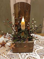 tobacco stick decor | PRIMITIVE TOBACCO LATHE CANDLE BOX W/BATTERY CANDLE AND BERRIES