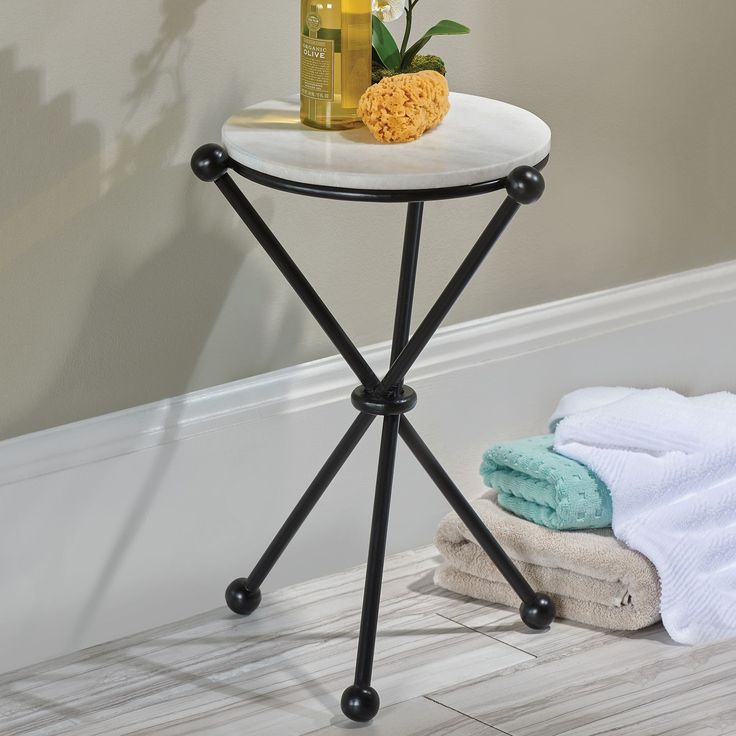 Marble Top Round Bathroom Accent Table   liked on Polyvore featuring home   furniture  tables  accent tables  iron table  iron accent table  flower  stems. 17 Best images about Bathroom Accessories on Pinterest   Toilet