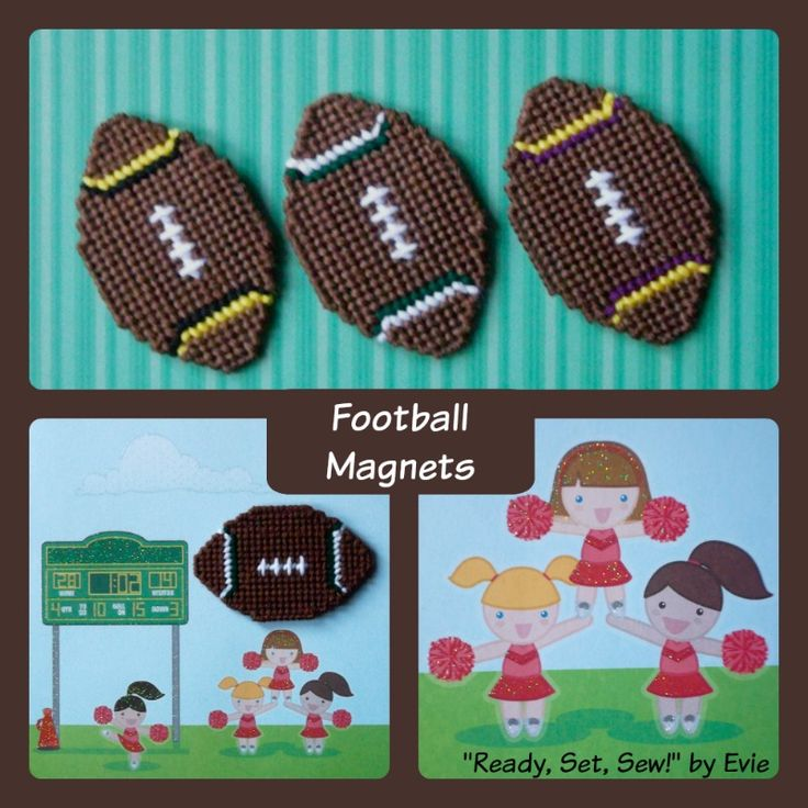 Plastic Canvas: Football Fever -- Football Magnets (set of 3). . .Are YOU ready for some football? Convo me at Etsy if you need custom stripe colors! :)