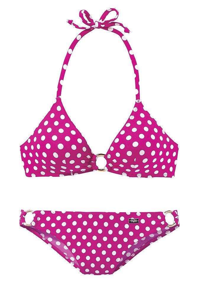 HEUTE IST DER TAG, an dem du mit neuer Beachwear punktest! Pink trifft Polka-Dots: Der Triangel-Bikini in Neckholder-Form von Buffalo weiß, wie man die Blicke auf sich zieht! Schönes Detail: die Zierringe an Dekolleté & Bikini-Hose.