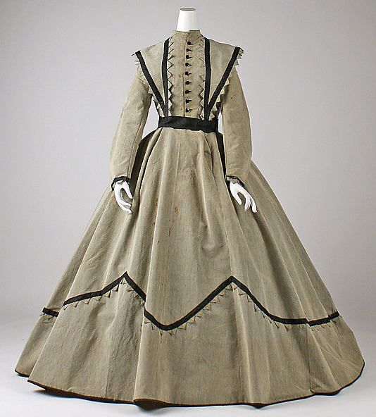 Dress 1868, American, Made of wool. I like this trim -- it looks like it could be done on the cheap, which is exactly what I'm looking for!: 18601869, Museums, Dress 1868, Clothing, Art, Historical Fashion, Dresses, Metropolitan Museum, Costume