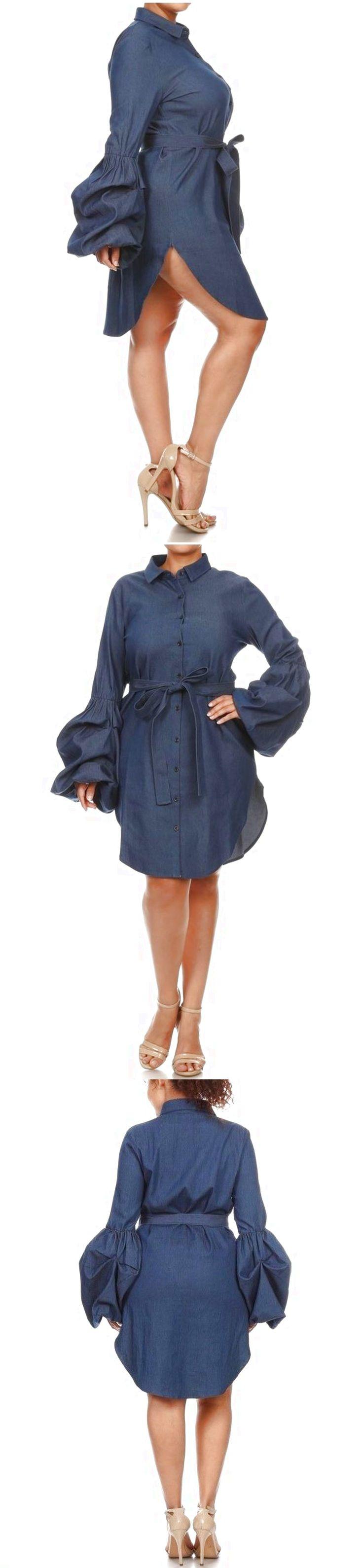 Plus Dark Blue Puff Bell Sleeve Denim Shirt Dress Jean Tunic Top $59.95