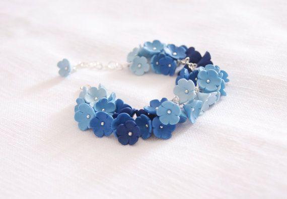 Bracciale fiori blu non ti scordar di me gioielli di CreazioniBB