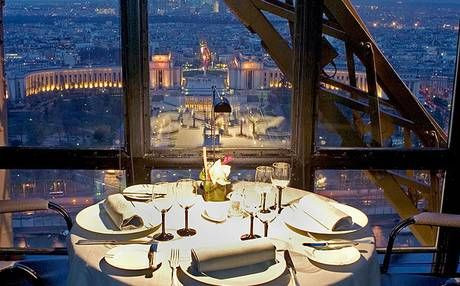 View from Le Jules Verne, the Alain Ducasse restaurant in the Eiffel Tower.