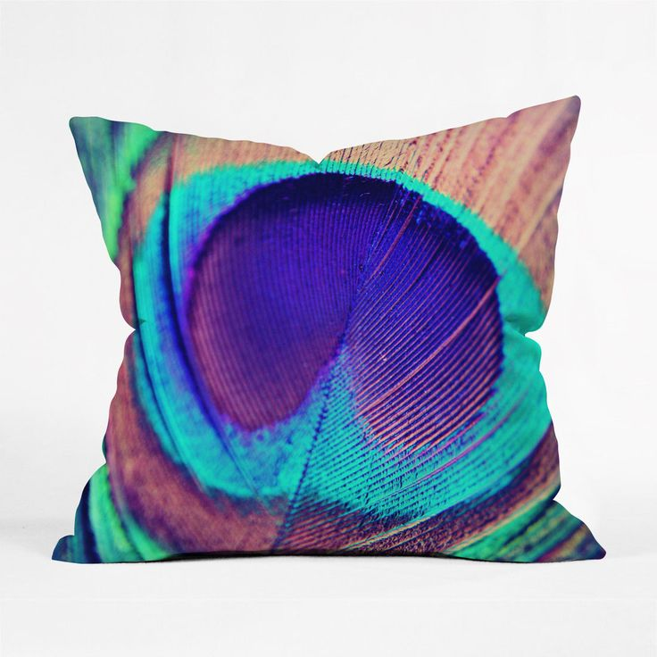 Peacock Feather Pillow Cover