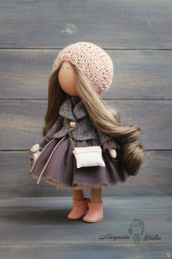 Art doll handmade peach brown color by AnnKirillartPlace
