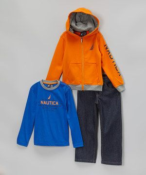 Look what I found on #zulily! Nautica Orange Zip-Up Hoodie Set - Infant & Boys by Nautica #zulilyfinds
