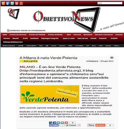 Ecco un altro articolo deidcato al nostro blog, Verde Polenta, dal sito d'informazione e attualità, Obiettivo News: http://www.obiettivonews.it/attualita/2014/07/25/milano-nato-verde-polenta/#.U9YK7_l_tu4 #Verde Polenta #consumo sostenibile #alimenti a Km zero #ricette