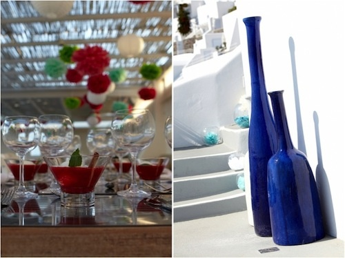 Santorini Greece Wedding on Merci New York  Event designers Stella and Moscha kept in tradition with the Santorini colors, with their own additions of vibrant red   decorations and cocktails {which look             absolutely delicious}.   www.stellaandmoscha.com