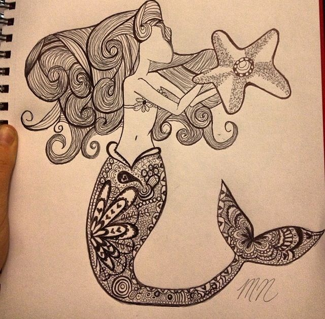 Mermaid drawing. A sketch/illustration by me, Michelle Nutt.