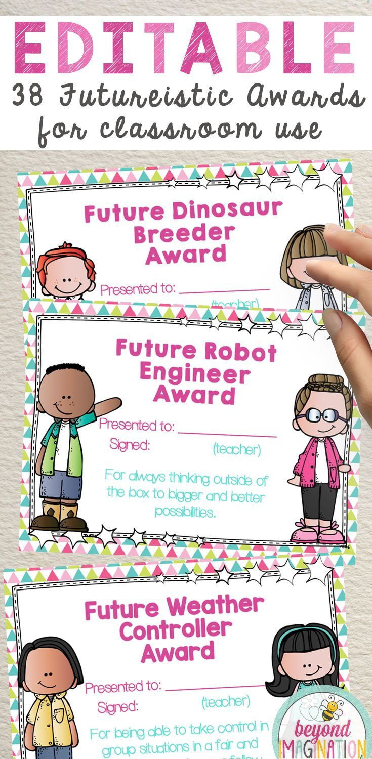 Editable awards for classroom teachers to use. Futuristic focused end of year certificates for kids. Recognition for students. #tpt #awards #editable
