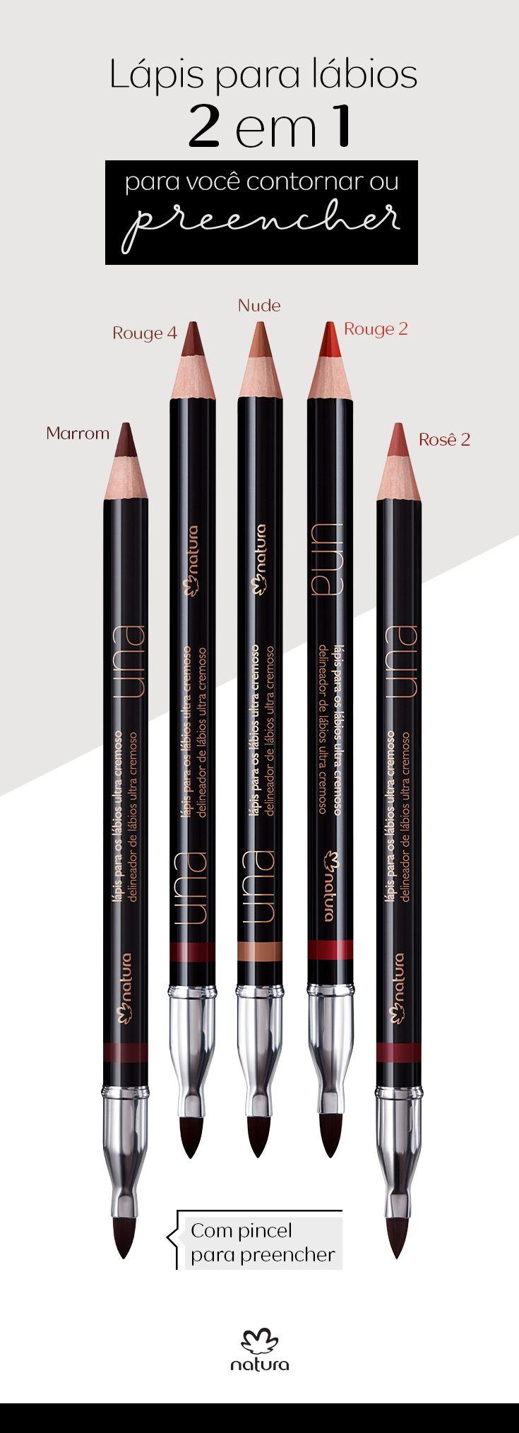 Você conhece os Lápis para lábios ultracremosos de Natura Una? Eles são 2 em 1: vêm com ponta para contornar os lábios e pincel para preencher e aplicar como batom. Compre o seu!