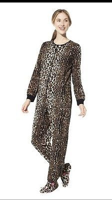 .99 cent auction !!! Wow. Nick and Nora Animal Leopard Print Fleece Cat Footed Sleeper Pajama Women XL NWT