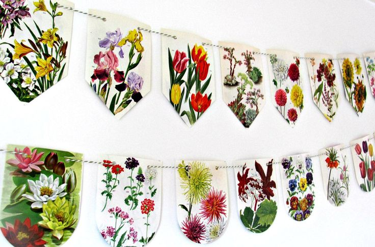 Garden flowers bunting.  Floral paper party garland.  Upcycled flower banner.  Eco-friendly wall decor.  Wedding backdrop. Tea party flags by ClaireWheatDesigns on Etsy https://www.etsy.com/listing/251060230/garden-flowers-bunting-floral-paper