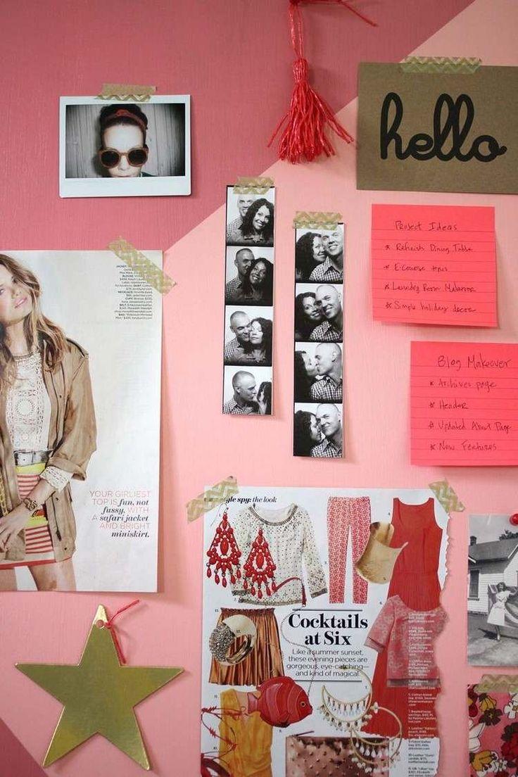 coller des photos, collages et citations motivantes avec Washi tape au mur de motivation rose