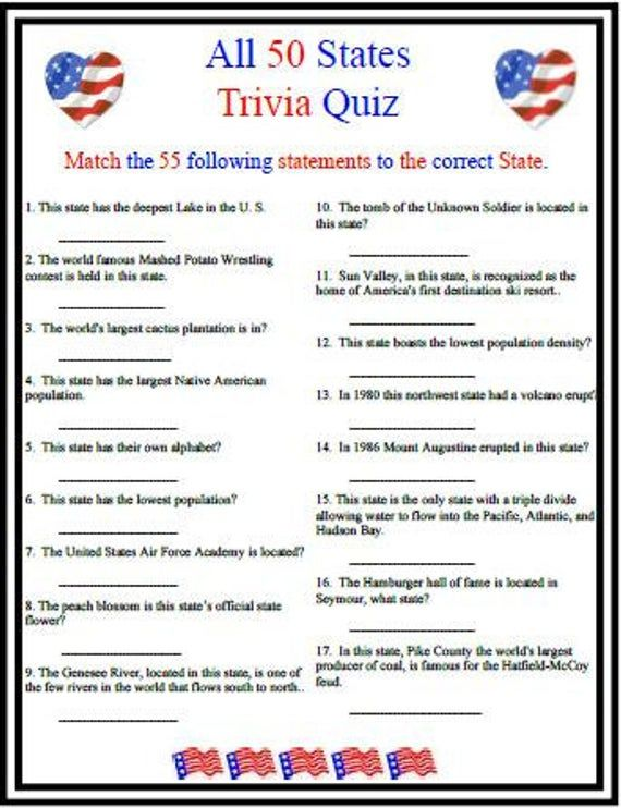 Coming Out On Top Phil Trivia Answers All 50 States Trivia This Or That Questions 4th Of July Games Trivia For Seniors