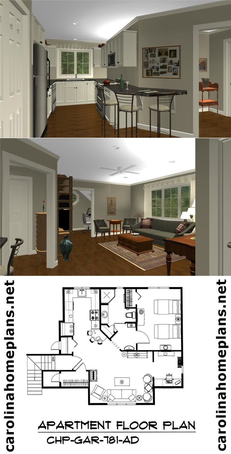 Delightful spacious 1 bedroom garageapartment plan from Carolina