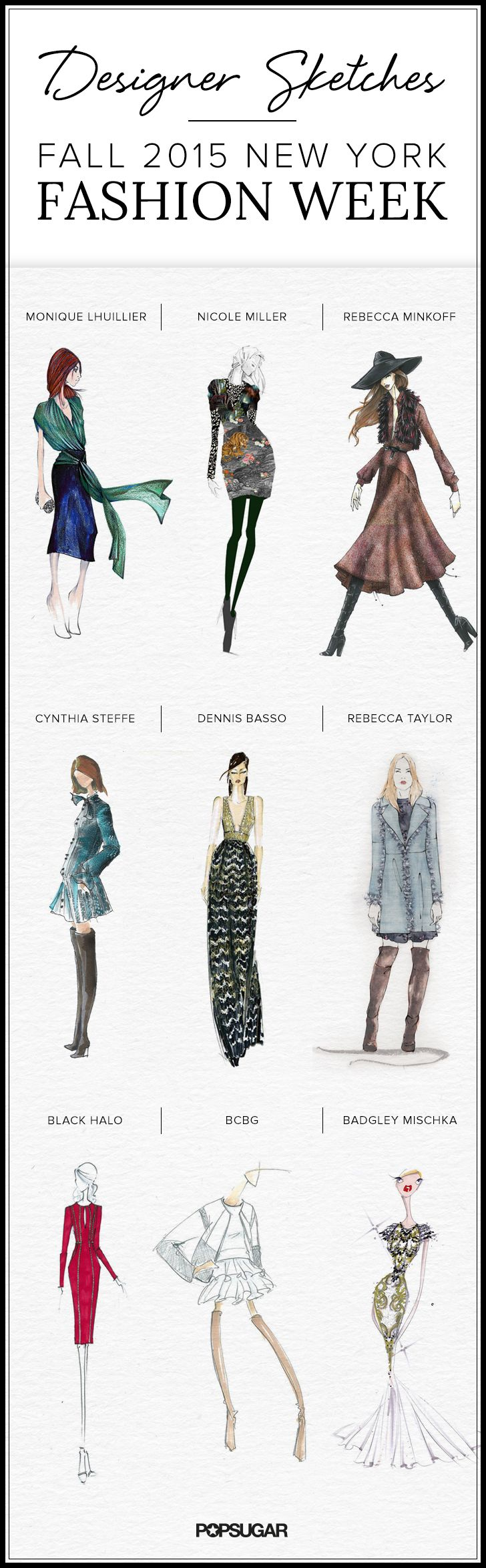 Designers illustrate their Fall 2015 runway inspiration. Click to see all the sketches!