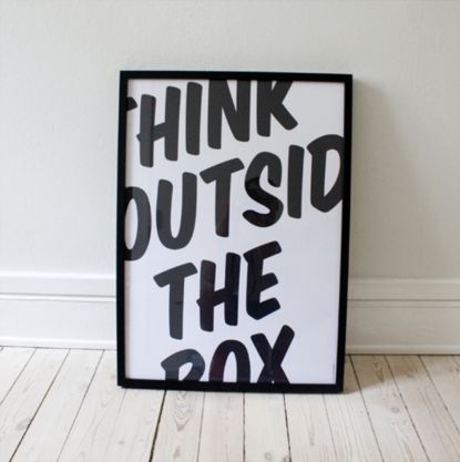 Outside the box. You could make cool canvas's with the same idea!