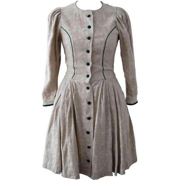 fgeiog ❤ liked on Polyvore featuring dresses, grey, vintage, costumes, vintage dresses, gray dress, vintage grey dress, vintage day dress and grey dress