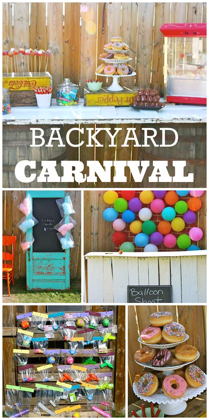 What a fun backyard carnival boy birthday party with cotton candy, donut holes on a stick, and fun activities!  See more party ideas at CatchMyParty.com!