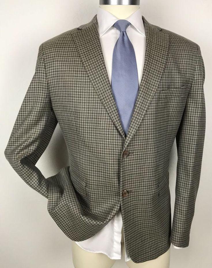 RALPH LAUREN Custom Unconstructed Wool, Silk & Linen Plaid Blazer Sport Coat 48R #RalphLauren #TwoButton