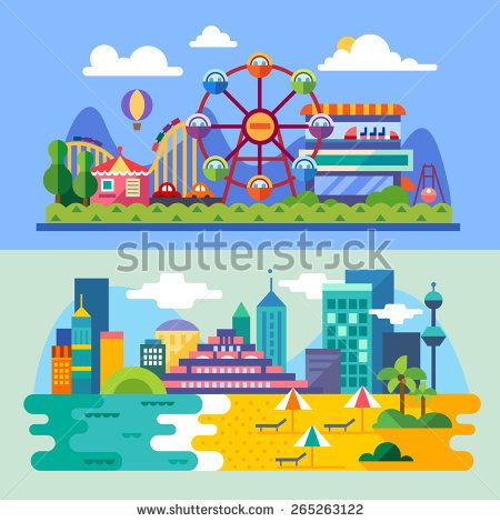 Summer city beach, amusement park landscapes: ferris wheel, roller coasters, balloon, sea,beach. Vacation. Vector flat  illustrations - stock vector