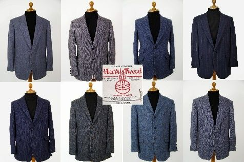 Blue Harris Tweed jacket. Mens blue Harris Tweed jackets.. pure wool mens blue Harris Tweed jackets in plain, check, herringbone and patterned Harris Tweed @ http://www.tweedmansvintage.co.uk
