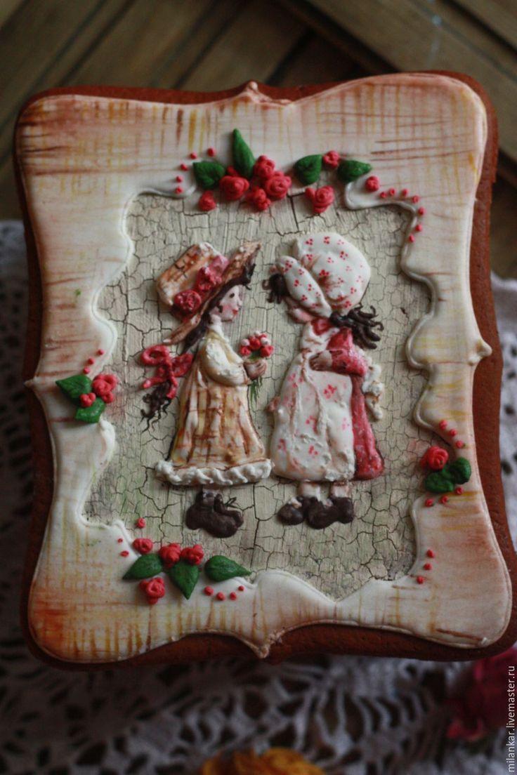"""Купить Подарочная пряничная шкатулка """"Дорогой подруге"""" - пряник, пряник имбирный, имбирный пряник"""